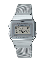 Casio Digital Quartz Unisex Watch with Stainless Steel Band, Water Resistant, A700WM-7ADF, Silver-Grey