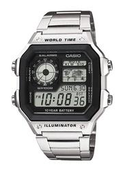 Casio Casual Digital Unisex Watch with Stainless Steel Band, AE-1200WHD-1AVE, Silver-Black