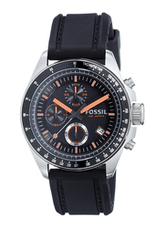 Fossil Analog Watch for Men with Silicone Band, Water Resistant and Chronograph, CH2647, Black