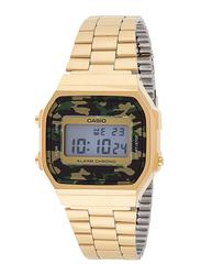Casio Vintage Digital Quartz Unisex Watch with Stainless Steel Band, A168WEGC-3, Gold-Green/Grey