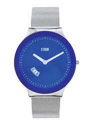 Storm Analog Unisex Watch with Stainless Steel Band, ST-47075/B, Silver-Blue