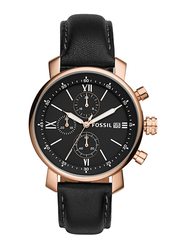 Fossil Analog Watch for Men with Leather Band, Water Resistant and Chronograph, BQ1008, Black