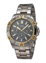 Fossil Garrett Analog Quartz Watch for Men with Stainless Steel Band, Water Resistant and Chronograph, FS5771, Silver/Gold-Black