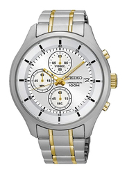 Seiko Analog Watch for Men with Stainless Steel Band, Water Resistant and Chronograph, SKS541P1, Silver/Gold-White