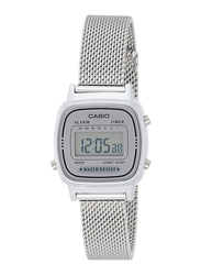 Casio Digital Unisex Watch with Stainless Steel Band, Water Resistant, LA670WEM-7DF, Silver-Grey