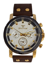 Spectrum Analog Sport Watch for Men with Leather Band, Chronograph, S25142G, Brown-White