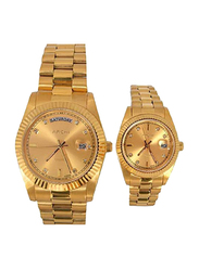 Archi Yellow Gold Pair Analog Quartz Unisex Watch Set with Stainless Steel Band, A0685-M-A0686L, Gold