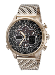 Citizen Eco-Drive Navihawk Analog Watch for Men with Stainless Steel Band, Water Resistant and Chronograph, Gold-Brown