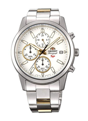 Orient Analog Watch for Men with Stainless Steel Band, Water Resistant and Chronograph, SKU00001W, Silver-White