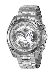 Casio Edifice Analog Watch for Men with Stainless Steel Band, Water Resistant and Chronograph, EF-550D-7AV, Silver-White