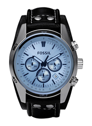Fossil Analog Watch for Men with Leather Band, Water Resistant and Chronograph, CH2564, Black-Blue