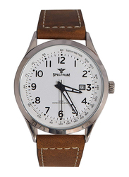 Spectrum Analog Casual Watch for Men with Leather Band, Water Resistant, S82463M, Brown-White