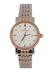 Spectrum Analog Watch for Women with Stainless Steel Band, Rim with Swarovski Crystals, S12574-1L, Silver/Rose Gold-White