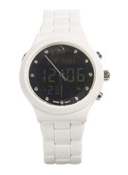 Al Fajr Analog/Digital Unisex Watch with Aluminum Band, Water Resistant, WB-20, White-Black