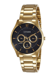 Citizen Analog Quartz Watch for Men with Stainless Steel Band, Water Resistant and Chronograph, AG8353-81E, Gold-Black