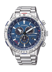Citizen Eco-Drive Analog Watch for Men with Stainless Steel Band, Water Resistant and Chronograph, CB5000-50L, Silver-Blue
