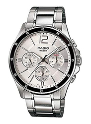 Casio Analog Watch for Men with Stainless Steel Band, Water Resistant and Chronograph, MTP1374D-7AVDF, Silver