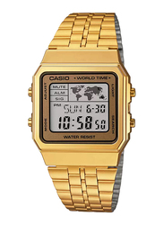 Casio Digital Quartz Unisex Watch with Stainless Steel Band, Water Resistant, A500WGA-9DF, Gold
