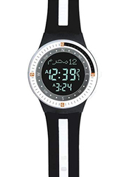Al-Harameen Sport Azan Digital Unisex Watch with Synthetic Band, Water Resistant, Black/White-Black