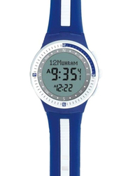 Al-Harameen Digital Unisex Watch with Synthetic Band, Water Resistant, HA6505, Blue-Grey
