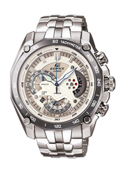 Casio Edifice Analog Watch for Men with Stainless Steel Band, Water Resistant and Chronograph, EF-550D-7AV, Silver-Beige
