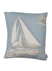 Dodo Seven Seas Let's Go Sailing Cushion with Insert, 44 x 36cm, Beige/Blue