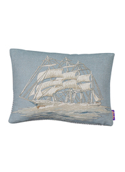 Dodo Seven Seas Let's Go Sailing Rectangular Cushion with Insert, 28 x 22cm, Beige/Blue