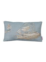 Dodo Seven Seas Let's Go Sailing Rectangular Cushion with Insert, 34 x 20, Beige/Blue