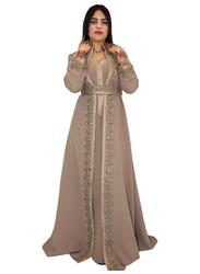 Ali Saif Chiffon V-Neck Long Sleeve Arabic Traditional Dress for Women, Small, Light Brown