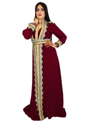 Ali Saif Chiffon Long Sleeve Arabic Traditional Dress for Women, Triple Extra Large, Maroon