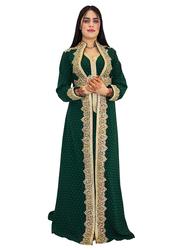 Ali Saif Chiffon V-Neck Long Sleeve Arabic Traditional Dress for Women, Small, Dark Green 03