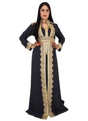 Ali Saif V-Neck Arabic Traditional Dress for Women, Small, Dark Blue