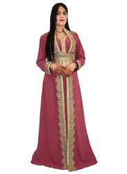 Ali Saif V-Neck Arabic Traditional Dress for Women, Small, Indian Red