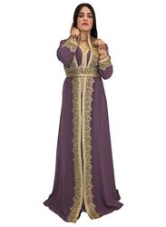 Ali Saif Chiffon V-Neck Arabic Traditional Dress for Women, Extra Large, Purple