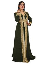 Ali Saif Arabic Traditional Dress for Women, Small, Dark Green