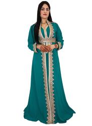 Ali Saif Chiffon V-Neck Long Sleeve Arabic Traditional Dress for Women, Small, Blue Green