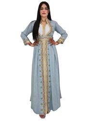 Ali Saif Chiffon Arabic Traditional Dress for Women, Small, Light Steel Blue