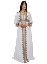 Ali Saif Chiffon V-Neck Long Sleeve Arabic Traditional Dress for Women, Small, Snow White