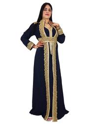 Ali Saif Arabic Traditional Dress for Women, Small, Midnight Blue