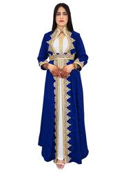 Ali Saif Chiffon Arabic Traditional Dress for Women, Small, Medium Blue