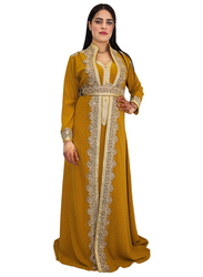 Ali Saif V-Neck Arabic Traditional Dress for Women, Small, Dark Golden Rod