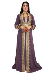 Ali Saif V-Neck Arabic Traditional Dress for Women, Small, Purple