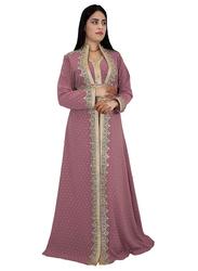 Ali Saif Chiffon V-Neck Long Sleeve Arabic Traditional Dress for Women, Small, Rosy Brown