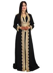 Ali Saif Chiffon V-Neck Long Sleeve Arabic Traditional Dress for Women, Large, Black