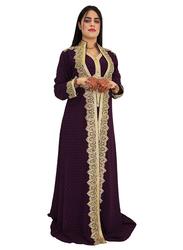 Ali Saif Chiffon V-Neck Arabic Traditional Dress for Women, Extra Large, Dark Red 02