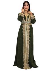 Ali Saif Chiffon V-Neck Arabic Traditional Dress for Women, Extra Large, Dark Green 03