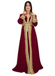 Ali Saif Arabic Traditional Dress for Women, Small, Dark Red