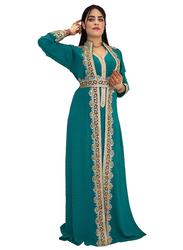 Ali Saif Chiffon V-Neck Arabic Traditional Dress for Women, Extra Large, Blue Green