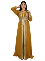 Ali Saif Arabic Traditional Dress for Women, Small, Dark Golden Rod