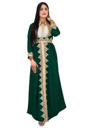 Ali Saif Chiffon Arabic Traditional Dress for Women, Small, Dark Green